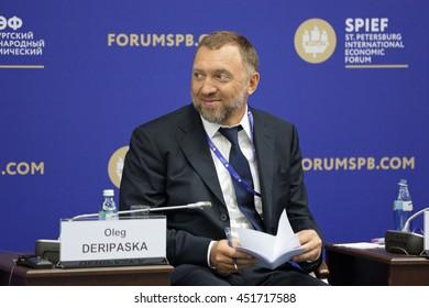 ST-PETERSBURG, RUSSIA-JUN 16, 2016: St. Petersburg International Economic Forum SPIEF-16. Oleg Deripaska - owner of the industrial groups Basic Element, President of En+ Group and United Company RUSAL