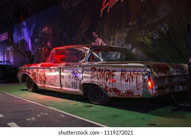 St.Petersburg / Russian Federation - circa May 2018: Route 66 Museum. Holywood autolegends