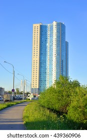ST.PETERSBURG, RUSSSIA - 14 JUNE 2016: Residential skyscraper Prince Alexander Nevsky in microdistrict Ribatskoe on the outskirts of St. Petersburg, Russia.