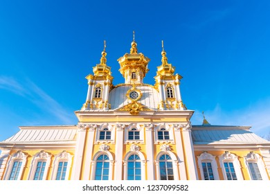 St.Petersburg,Russia-April12,2018: Beautiful Church with clear sky in Grand Peterhof Palace.The Peterhof Palace and Gardens complex is included in the UNESCO's World Heritage.