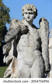 STRA, ITALY - OCT 7, 2016: Angel sculpture at Villa Pisani at Stra, Italy on Oct 7, 2016. It is a landmark villa and unesco world heritage in Italy.