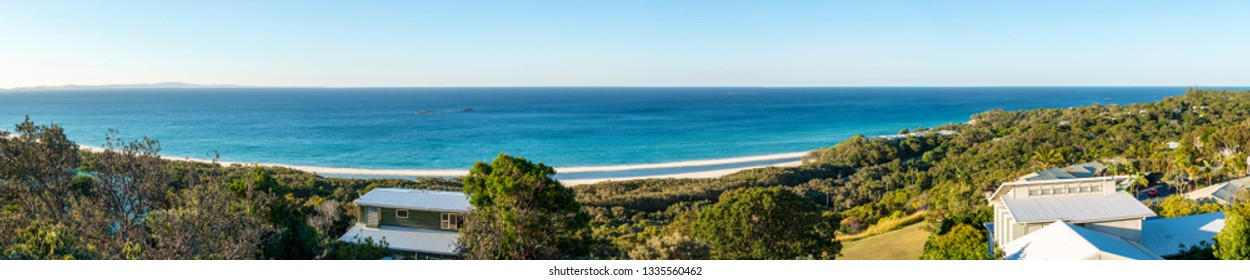 Stradbroke Island panorama overlooking houses out to the beach in Queensland, Australia