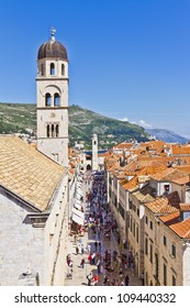 Stradun is the biggest, longest and widest street in historical center of Dubrovnik - UNESCO World Heritage Site. Croatia, Europe.