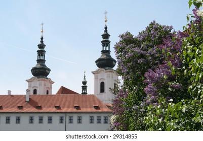 Strahov library theological hall in Prague, springtime