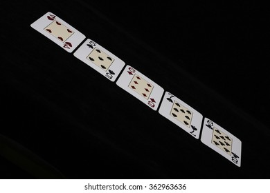 Straight In The Air/ Five Cards in Sequence, of Mixed Suits