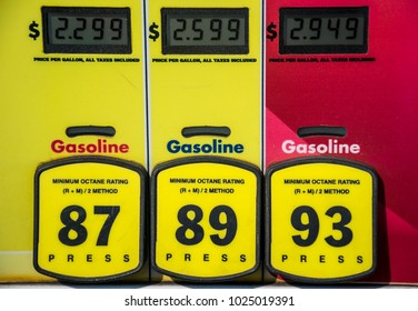 Straight angle of Octane rating and high prices at the gas pump. Yellow buttons to choose your poison and unleaded or premium gasoline. Fossil fuels power our cars and transportation