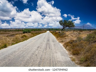 Straight asphalted road in Kos, Greece