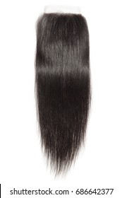 Straight black human hair extensions lace closure