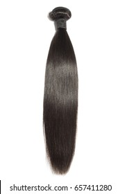 Straight black virgin remy human hair extensions bundles