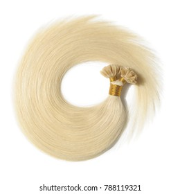 Straight Bleached Yellowish Blonde Keratin Pre-Bonded Stick Human Hair Extensions
