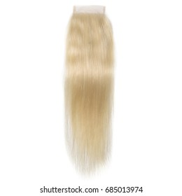 Straight blonde human hair extension lace closure