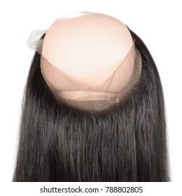 Straight circled sewed human hair weaves lace frontal closure