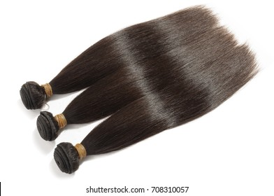 Straight dark brown human hair weave extensions bundles