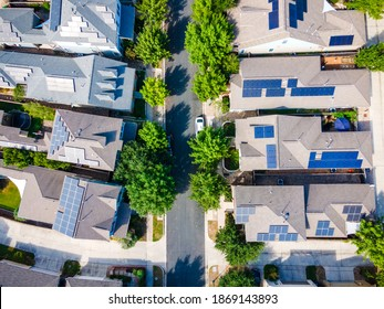 Straight down Aerial drone view of the Mueller District in Austin , Texas , USA - endless solar panels and a renewable , sustainable community of homes