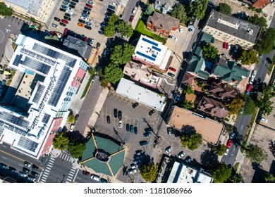 Straight down Drone angle above Denver , Colorado , USA City streets and intersections and roads with crossroads  transporation in Mile High City