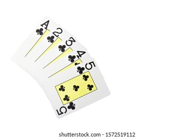 Straight flush card poker hand isolated on white / youngest Straight flush