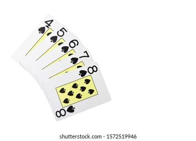 Straight flush card poker hand isolated on white / regular Straight flush