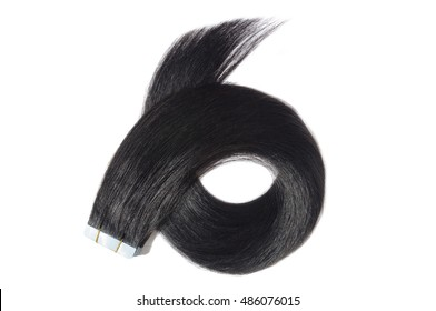 Straight jet black tape in remy human hair extensions
