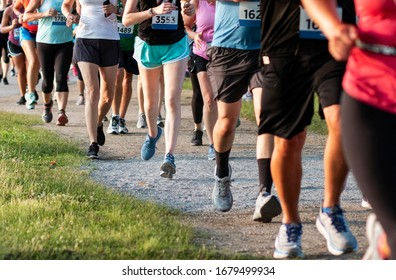 A straight line of runners racing on a dirt path in a State Park during a 5K community race.