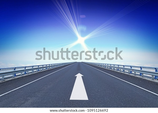 Straight motorway with a forward arrow and guiding star over horizon. Concept of moving ahead