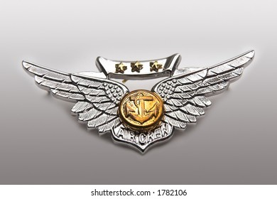 straight on of navy and marine corps combat aircrew wings on gradient