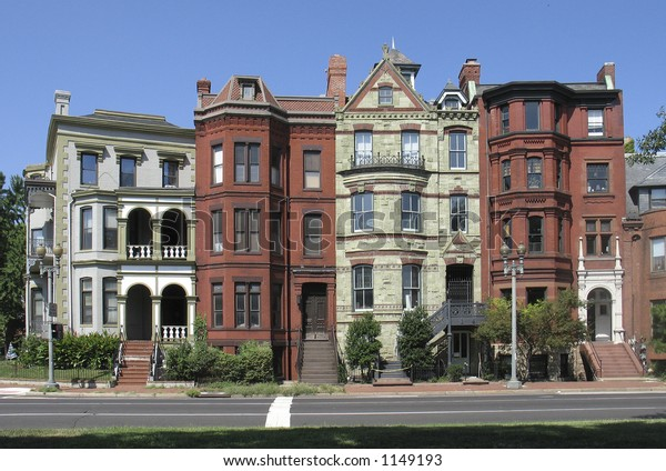 straight on version of historic DC rowhouses
