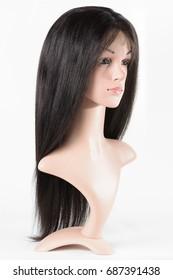 Straight perm coarse black human hair lace wigs