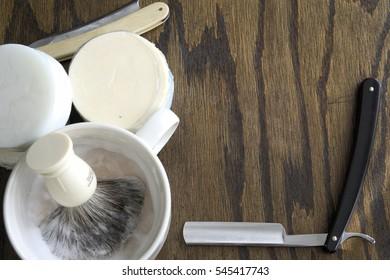 Straight razor barber brush template advertisement