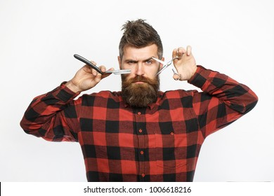 Straight razor, barbershop, beard. Barber scissors. Mens haircut. Man in barbershop. Bearded man, lush beard, handsome. Hipster, brutal male. Barber shop service concept. Vintage straight razor.