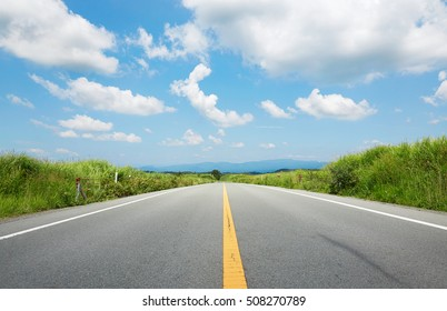 the straight road at the clear sky day