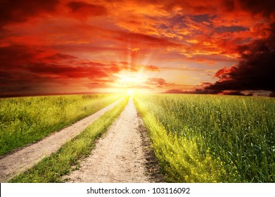 Straight road to heaven, abstract rural landscape