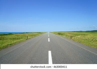 A straight road in Hokkaido Nicknamed the Japan Sea Orolon Line
