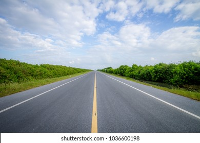 Straight road in nature. road over blue sky background.