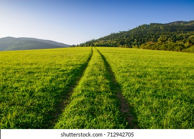 Straight road on a grassy field with hills in Slovakia, Europe