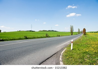 straight road in rural landscape