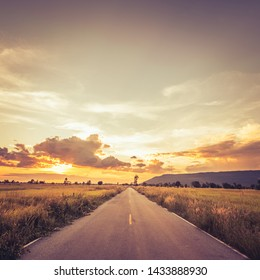Straight road through the field at sunset