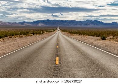 Straight road through Sierra Nevada