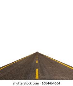 Straße mit gelben Linien auf weißem Hintergrund und kleiner Karte am Ende