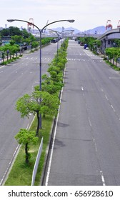 Straight roadway in city area