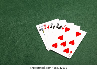 Straight, the sixth highest value hand in poker. Any five cards running numerically consecutive