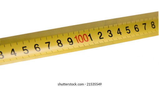 Straight yellow ruler with red number in the center. Isolated on white