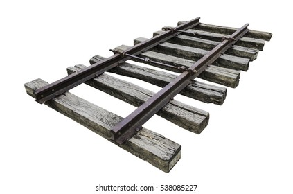Straight-line railway tracks on the gravel with realistic rusty rails and mounts on a white background