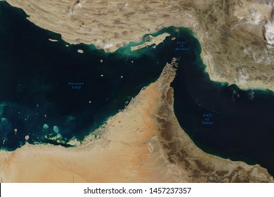 Strait of Hormuz, a strait between the Persian Gulf and the Gulf of Oman, seen from space - Elements of this image furnished by NASA