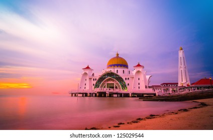 Straits Mosque during sunset at Malacca, Malaysia, Asia