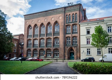 STRALSUND, GERMANY, 15TH SEPTEMBER 2012 - View of the facade of a red bricked  Gothic building in Stralsund, Germany