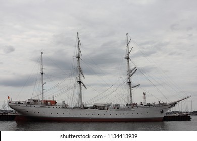 Stralsund, Germany – August 01, 2017 - Gorch Fock I  is a German three-mast barque, the first of a series built as school ships for the German Reichsmarine in 1933