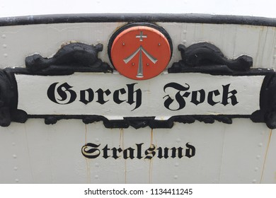 Stralsund, Germany – July 30, 2017 - Gorch Fock I  is a German three-mast barque, the first of a series built as school ships for the German Reichsmarine in 1933