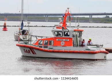 Stralsund, Germany July 30, 2017: A ship for Distress Rescue go in sea