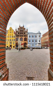 Stralsund, Germany May 12, 2018: old market square of Stralsund, with unidentified people. The historic Stralsund old town island is a UNESCO World Heritage Site