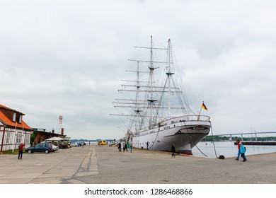 Stralsund, Germany - May 12, 2018: Gorch Fock I in the port of Stralsund with unidentified people. Its a German three-mast barque, the first of a school ship series for German Reichsmarine in 1933